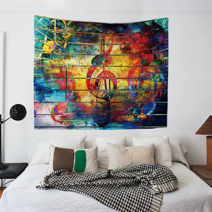 Colorful Wooden Music Note Wall Art Tapestry