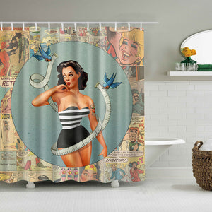Comic Book Backdrop Perfect Body Pinup Girl Shower Curtain