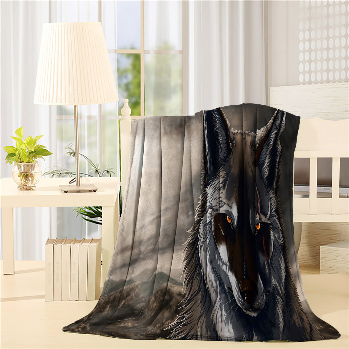 Cool Design Grey Wolf Throw Blankets