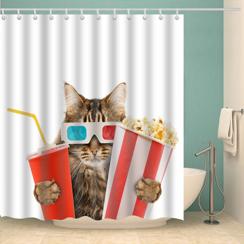 Cool Kitten Popcorn and Drink Watching Movie Shower Curtain | GoJeek