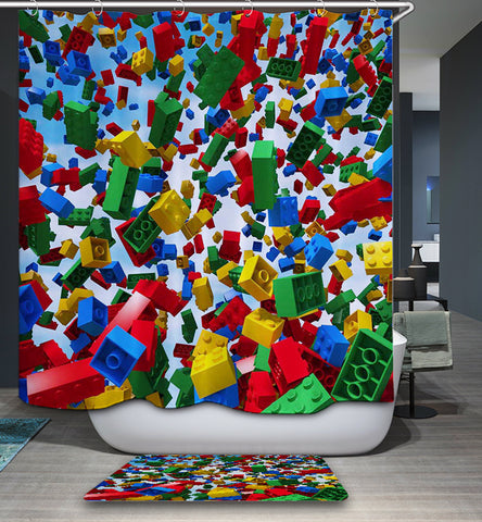 Cool Overwhelming Lego Building Block Shower Curtain