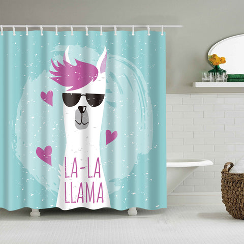 Cool Purple Hairstyle Heart La-La Llama Shower Curtain