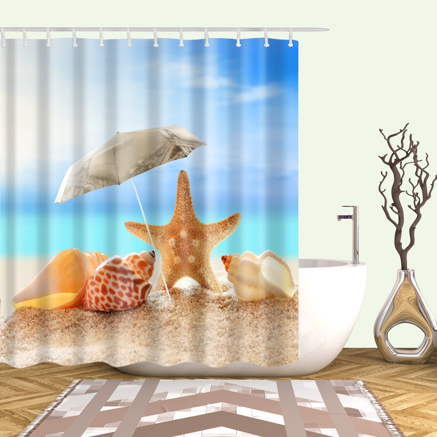 Coral Starfish Shower Curtain Summer Sunbathring Seashell Bathroom Curtains