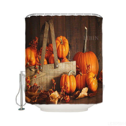 Cornucopia Squash Orange Pumpkins Wooden Table Garden Thanksgiving Holiday Shower Curtain