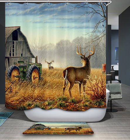 Country Farm House Tractor Deer Shower Curtain