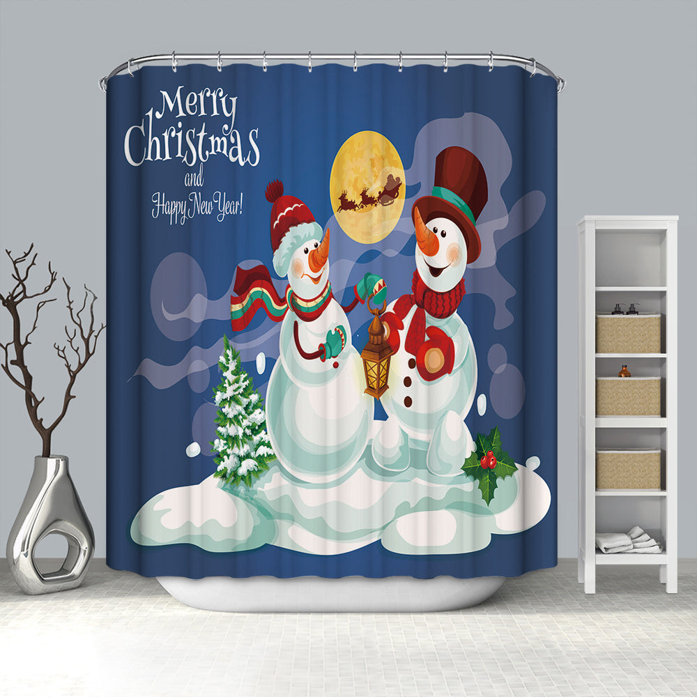 Couple Snowman Playing at Moon Night Shower Curtain
