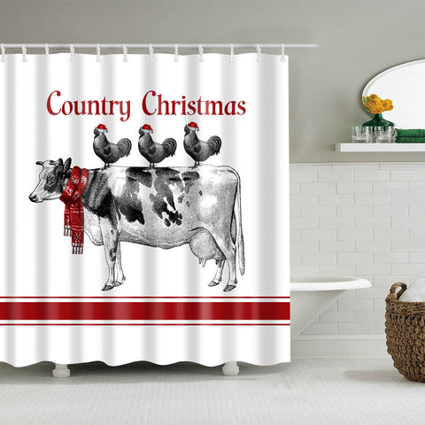 Kuh mit Huhn Animas Country Farmhouse Weihnachtsduschvorhang