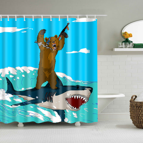 Cortina de ducha Crazy Bear Riding Shark