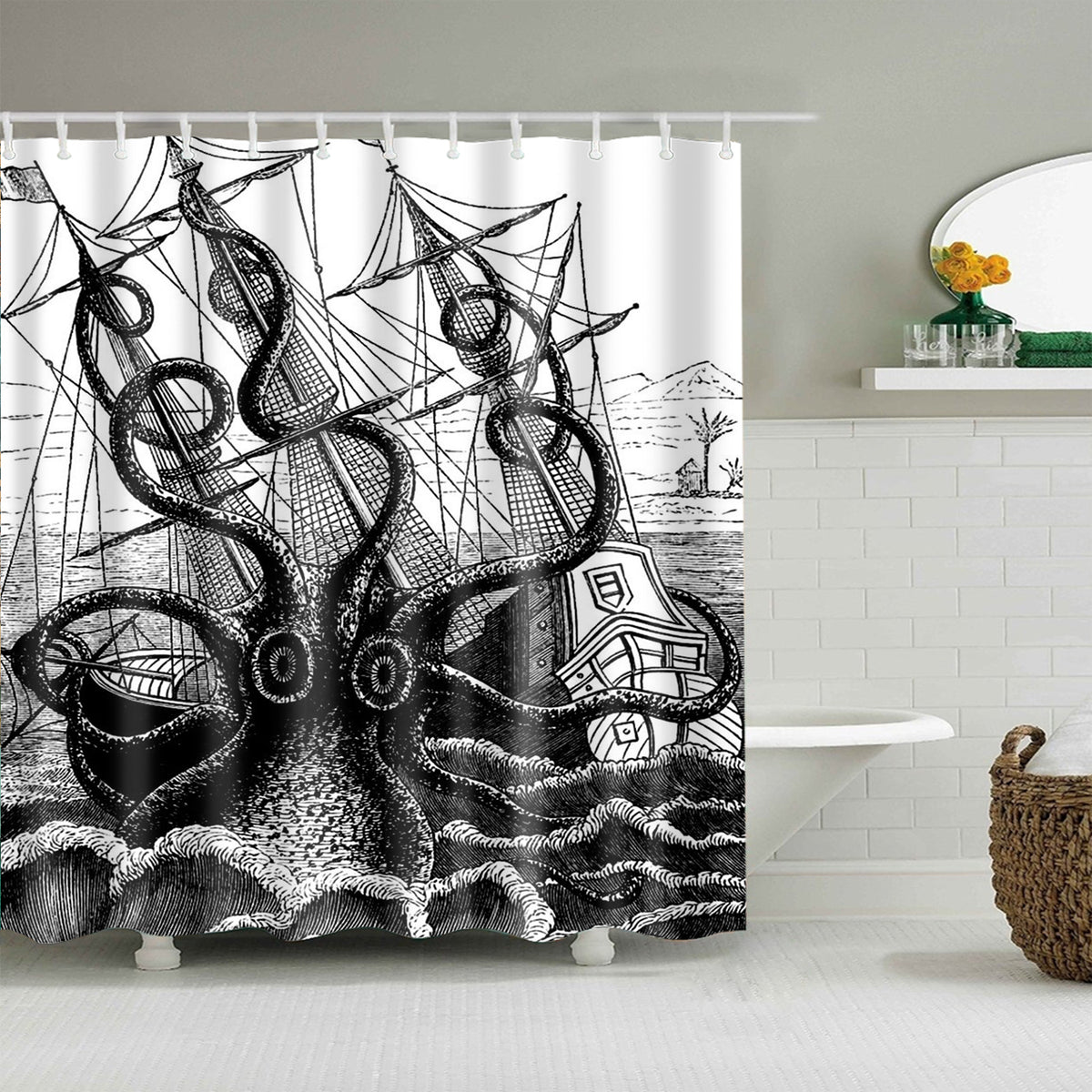 Crazy Giant Octopus Attack Boat Shower Curtain