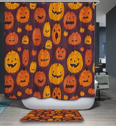 Crazy Jack O Lantern Faces Pumpkin Shower Curtain