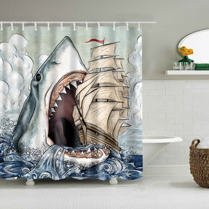 Crazy Shark Attack Swallow Boat Shower Curtain