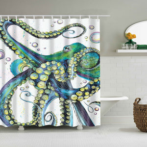 Crazy Tentacle Blue Green Kraken Octopus Shower Curtain
