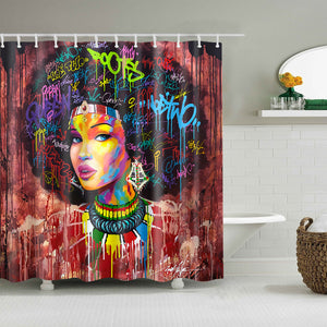 Crescent Art Black Afro Girl Colorful Quote Hairstlye Shower Curtain