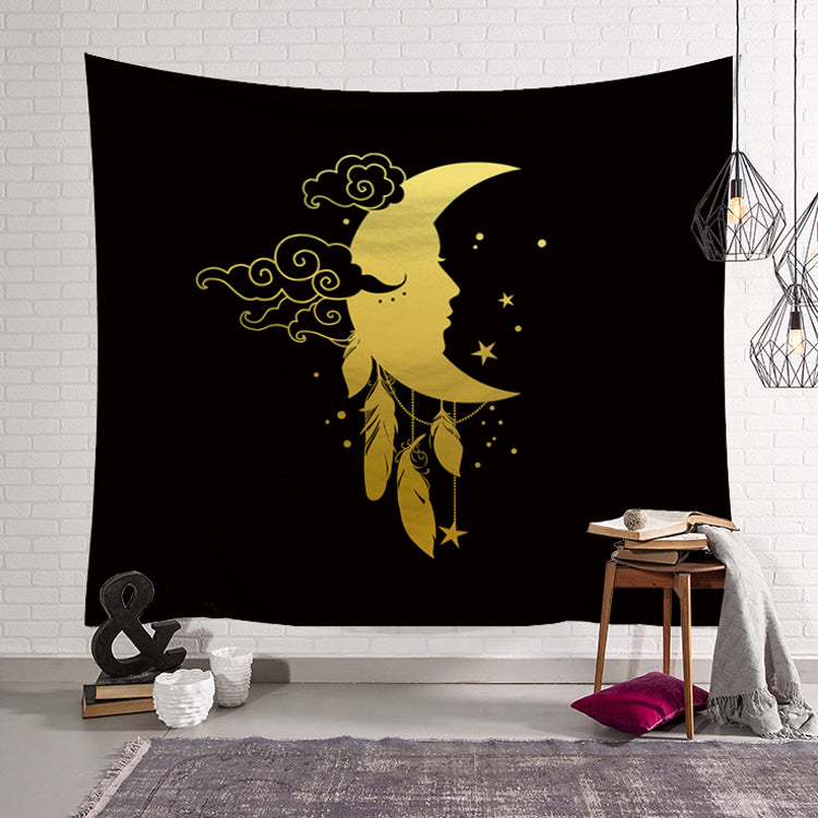 Crescent Moon Symbol with Wind Chimes Tapestry