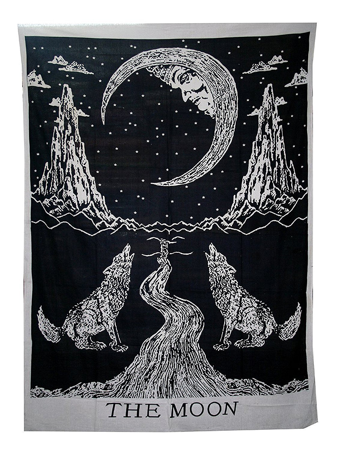 Crying Wolf Moon Medieval Tarot Tapestry