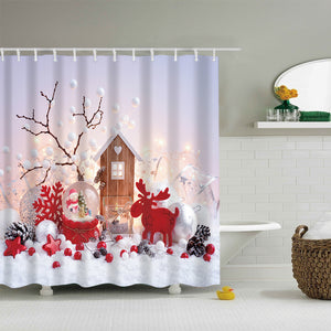 Crystal Ball with Red Color Xmas Gifts Shower Curtain