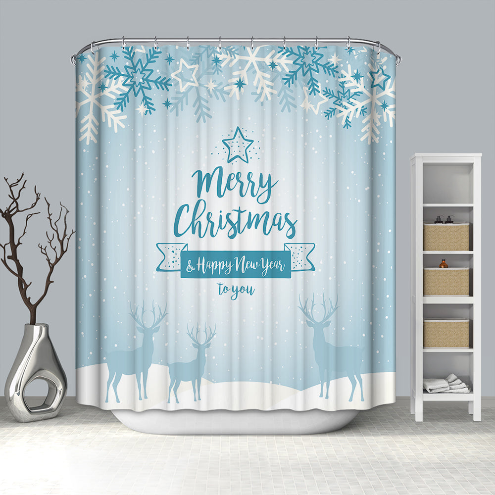 Crystal Deer Merry Christmas Shower Curtain
