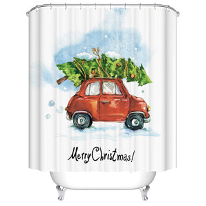 Cute Drawing Christmas Tree Mini Retro Red Car Shower Curtain