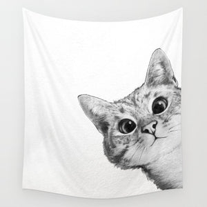 Cute Kitty Sneaky Cat Tapestry