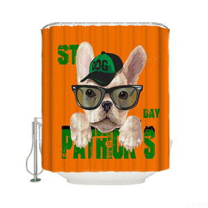 Cute Pet Drawing Lucky Holiday Dog St Patrick's Shower Curtain