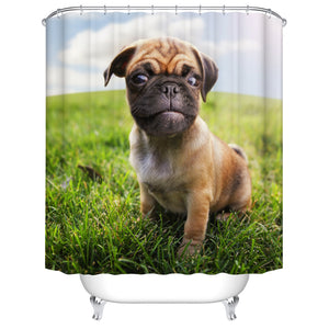Cute Puppy Pug on Grass Shower Curtain Real Photo Theme