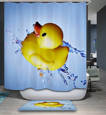 Cute Rubber Duck with Splashed Water Cartoon Ducky Shower Curtain
