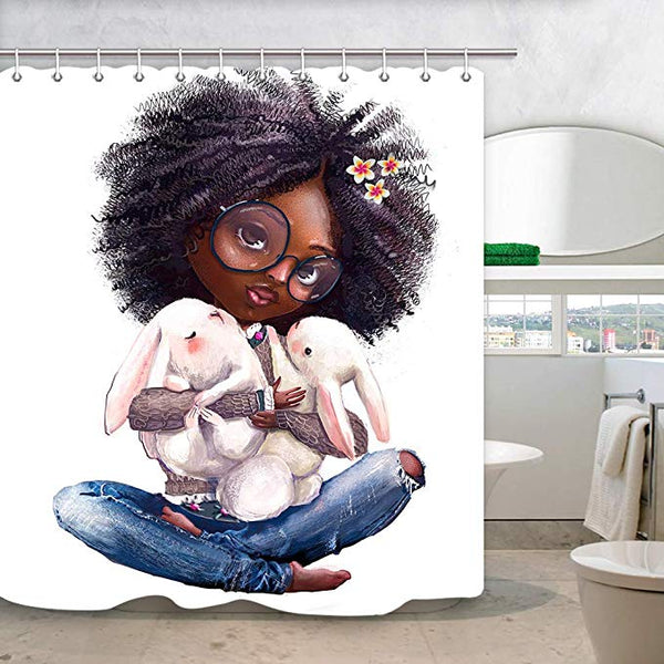 Cute Afro Young Girl Hoding Bunny Shower Curtain