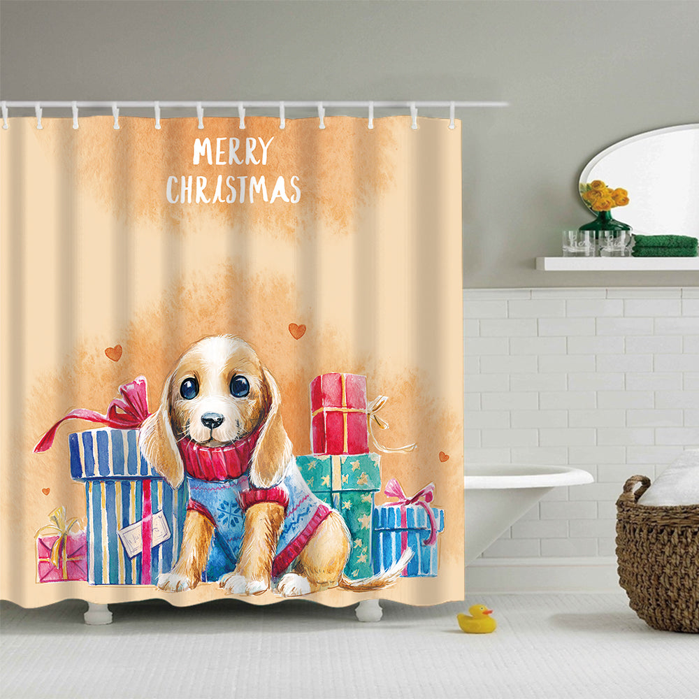 Cute Cartoon Dogs with Gifts Shower Curtain