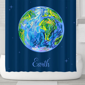 Cute Cartoon Earth Planet Shower Curtain | GoJeek