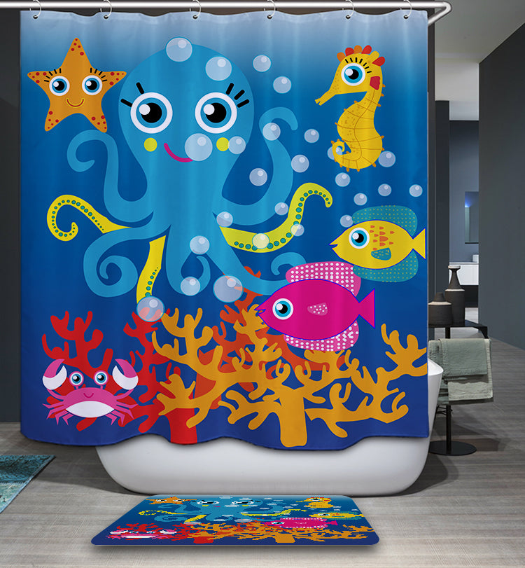 Cute Cartoon Ocean Animal Kids Shower Curtain