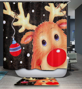 Cute Cartoon Say Hello Reindeer Shower Curtain