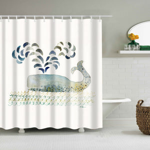 Cute Cartoon Whale Water Spray Shower Curtain | GoJeek
