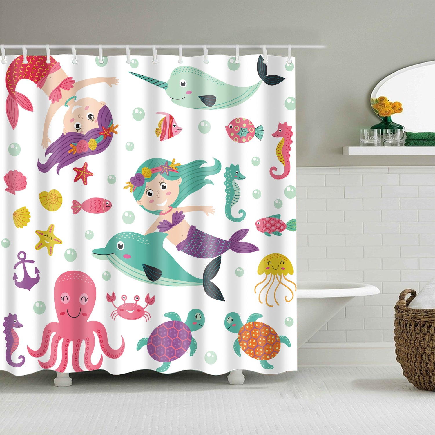Cute Childhood Little Mermaid Marine Kids Cartoon Shower Curtain