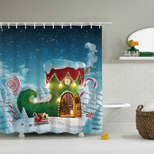 Cute Christmas Sock House Shower Curtain