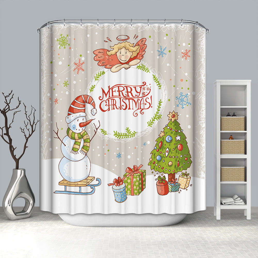 Cute Drawing Angel Jewish with Snowman Christmas Shower Curtain