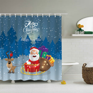 Cute Drawing Reindeer with Santa Sleigh Shower Curtain