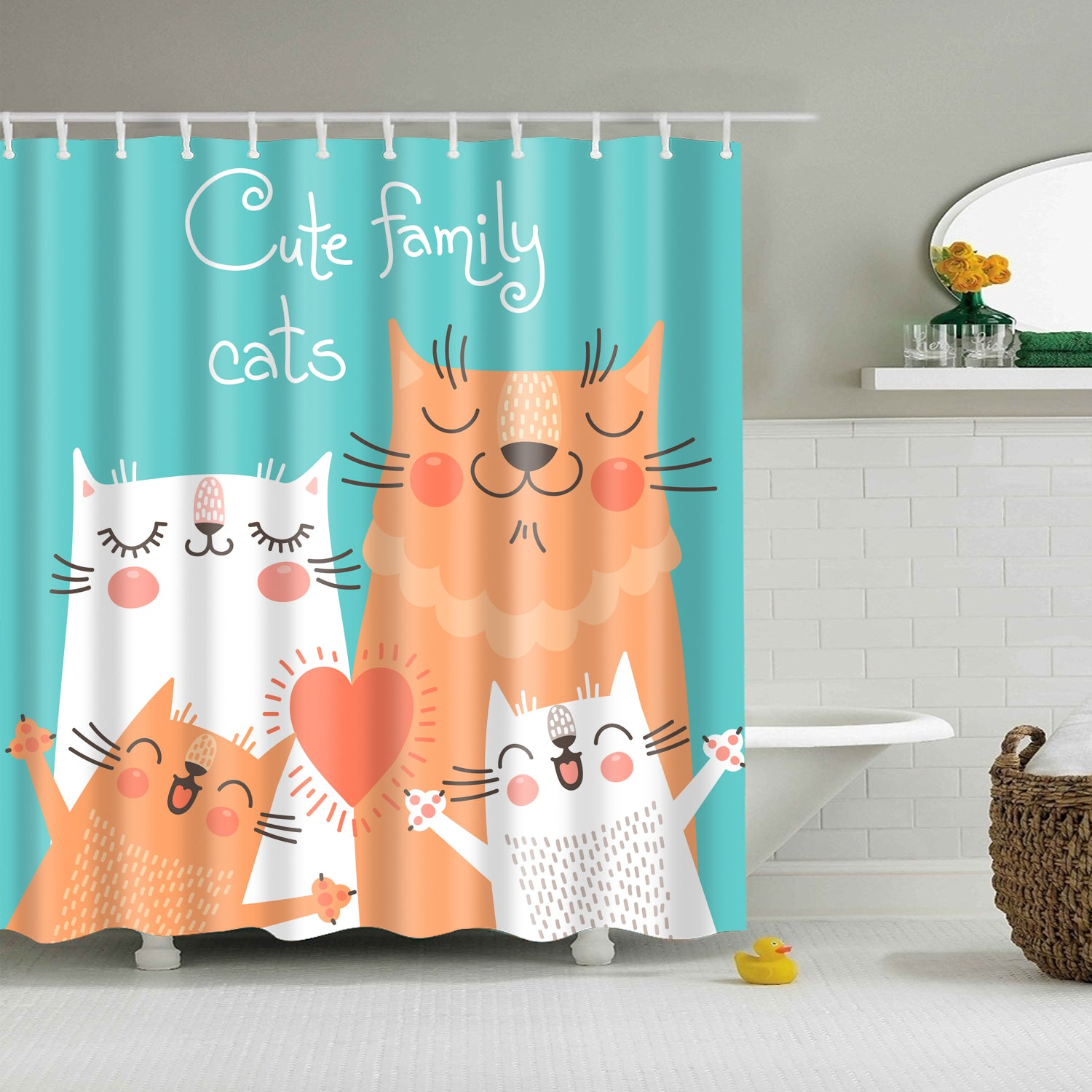Cute Cartoon Family Cats Shower Curtain | GoJeek