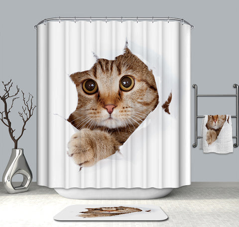 Cute Kitten Cat Shower Curtain White Animal Bath Curtains | GoJeek
