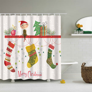 Cute Little Elf with Xmas Socks Shower Curtain