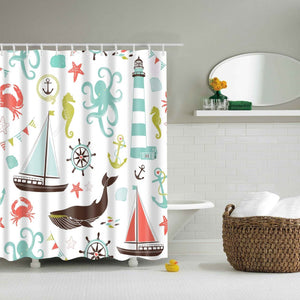 Cute Marine Product Cartoon Kids Shower Curtain | GoJeek