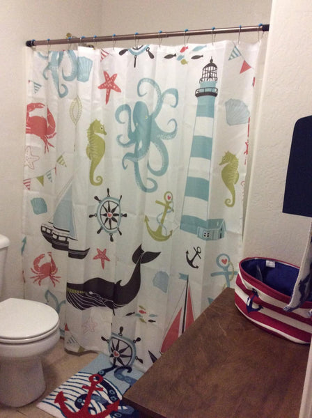 Cute Marine Product Cartoon Kids Shower Curtain
