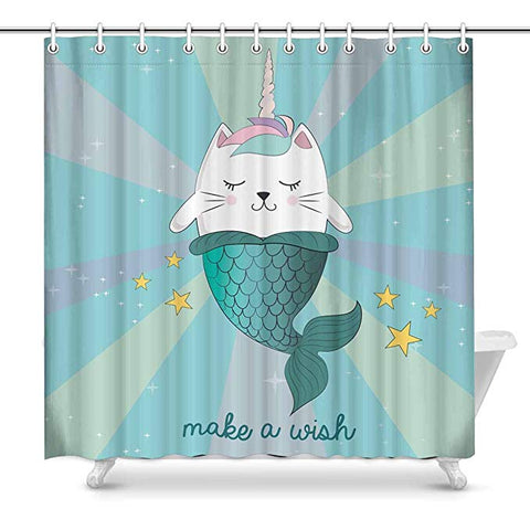 Cute Mermaid Cat Unicorn Make Wish Shower Curtain