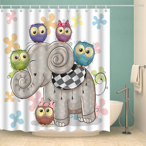 Cute Owls Standing on Elephant Kids Shower Curtain