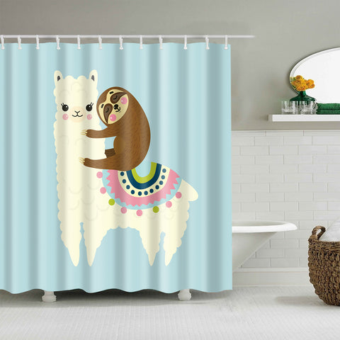 Cute Sloth Sleeping Alpaca Llama Shower Vorhang
