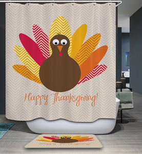 Cute Turkey with Quotes Thanksgiving Shower Curtain