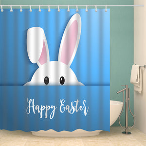 Cute White Bunny Take a Peep Easter Shower Curtain
