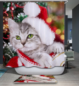 Cute White Kitten with Christmas Hat Shower Curtain