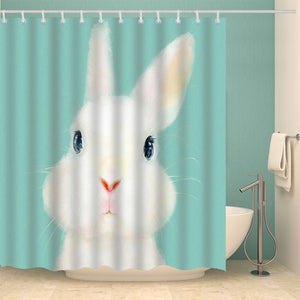 Cute White Rabbit Shower Curtain