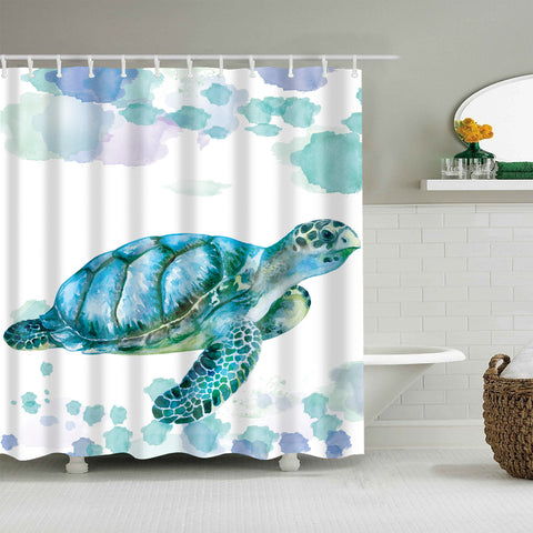 Cyan Green Watercolor Painting Sea Turtle Shower Curtain