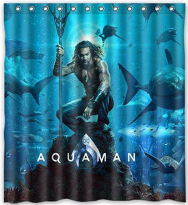 DC Superhero Aquaman Movie Poster Shower Curtain